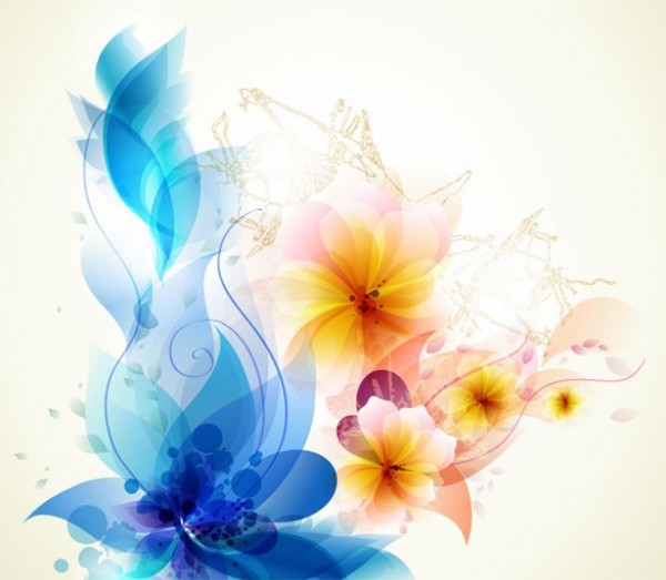 Abstract Flower Background With Decoration Elements For: Lovely Abstract Floral Art Vector Background