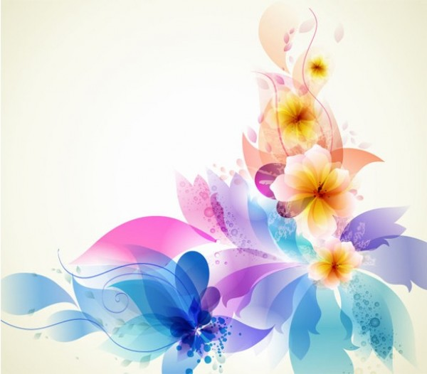 Abstract Flower Background With Decoration Elements For: Fantasy Floral Garden Abstract Vector Background