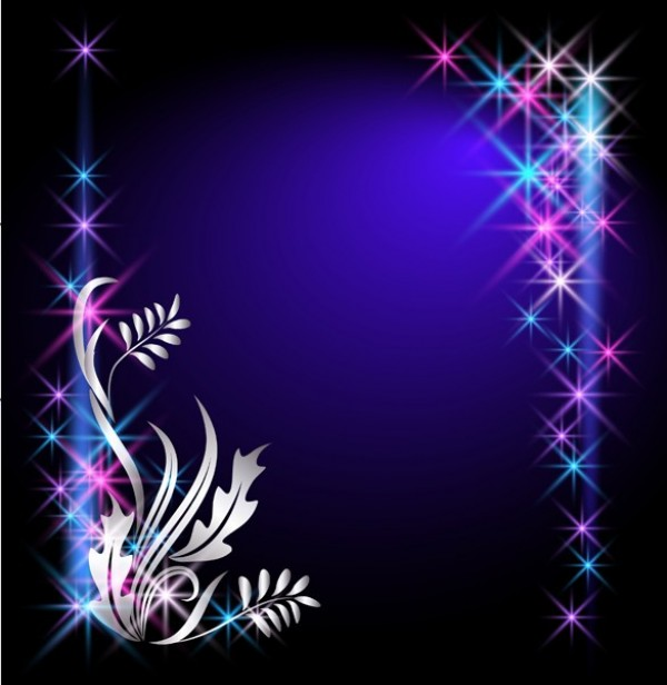 Star Studded Blue Floral Vector Background