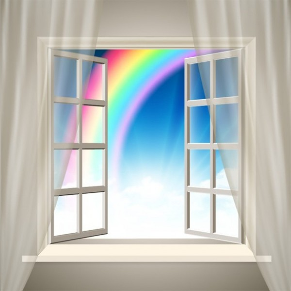 Transom Windows A Useful Design Element: Open Window With Rainbow Vector Background