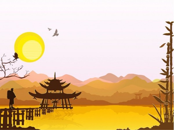 web vector unique ui elements sun stylish quality PDF pagoda original new mountains landscape interface illustrator high quality hi-res HD graphic fresh free download free elements eastern download detailed design creative bamboo background Asian AI