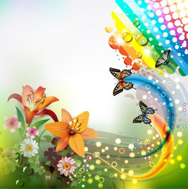 Summer Rainbow Butterfly Abstract Background