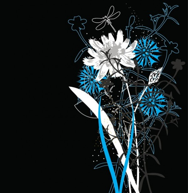 wildflowers white web vector unique ui elements summer stylish spring quality original new interface illustrator high quality hi-res HD graphic fresh free download free flowers flower bouquet floral EPS elements download detailed design creative bouquet blue black background AI