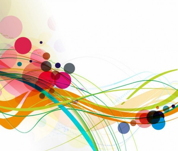 Wavy Lines Colorful Circles Abstract Background Welovesolo