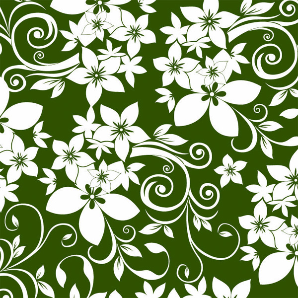 Abstract Flower Background With Decoration Elements For: White Green Floral Ornament Pattern Background