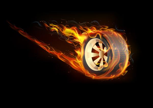 Tire Burnout Flames Smoke Debrisconcept 3d Stock ... |Flamming Tire
