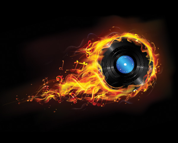 Flaming Vinyl Record Music Background Welovesolo