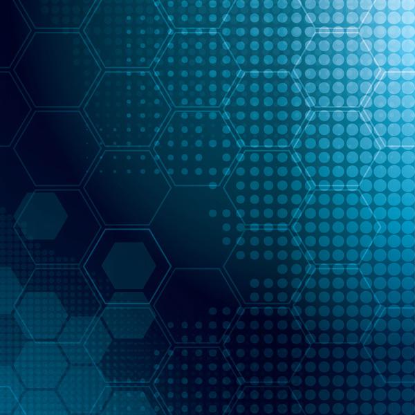 Blue Hexagon Halftone Pattern Background