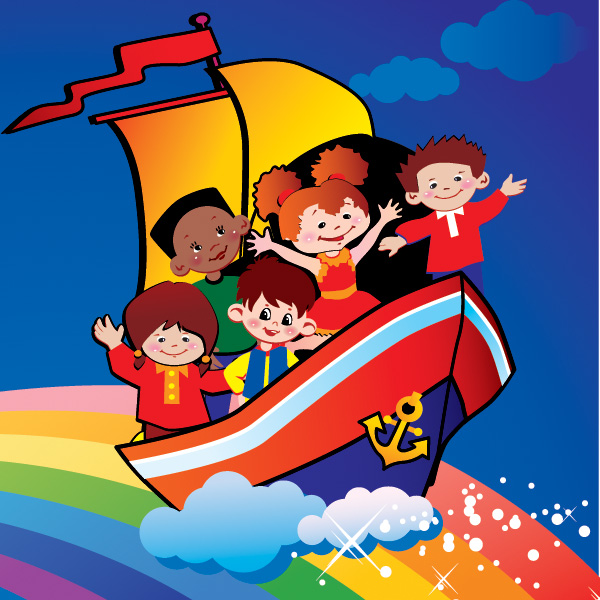 Colorful Cartoon Kids at Sea Background WeLoveSoLo