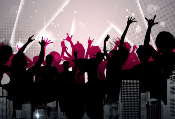 Silhouette Dance Music Abstract Background: City Party Silhouette Background