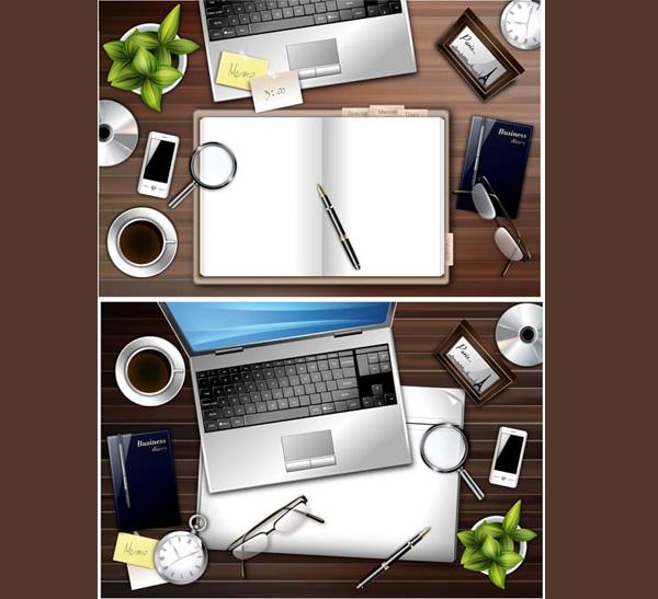 Office Desk Wallpaper: 6 Office Desktop Vector Scenes