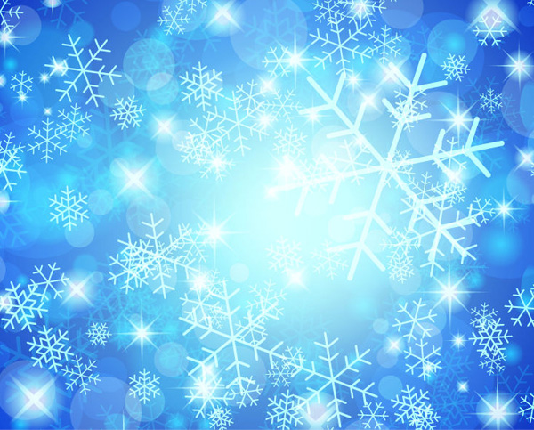 blue snowflake glow lights abstract background welovesolo