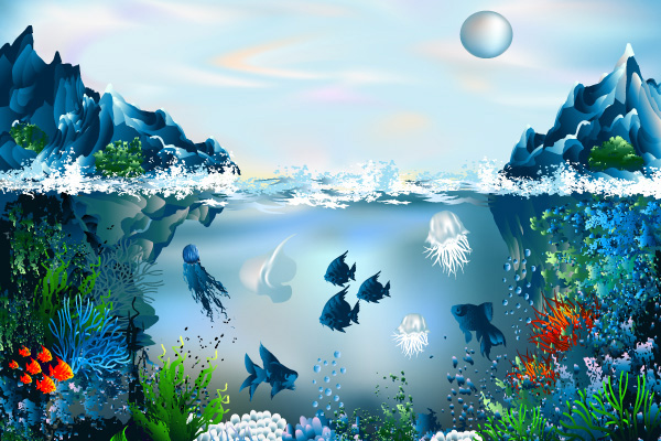 split view of the ocean – underwater with marine life and coral ...