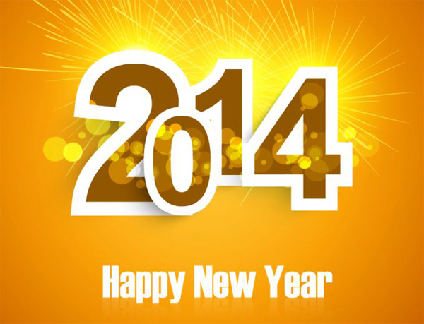 vector orange new year happy new year greetings free download free Fireworks card bokeh background abstract 2014