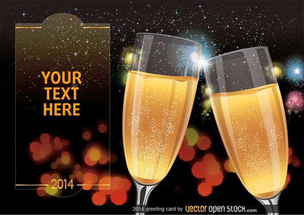 vector twinkle toast greeting card free download free Fireworks champagne card bokeh background 2014