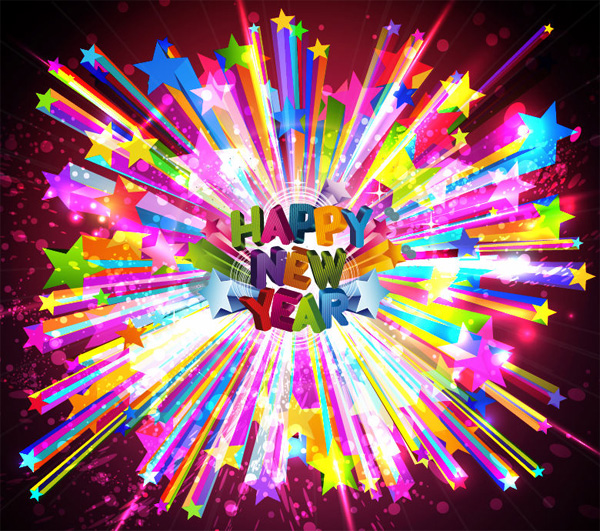 vector stars happy new year free download free Fireworks explosion colorful celebration background