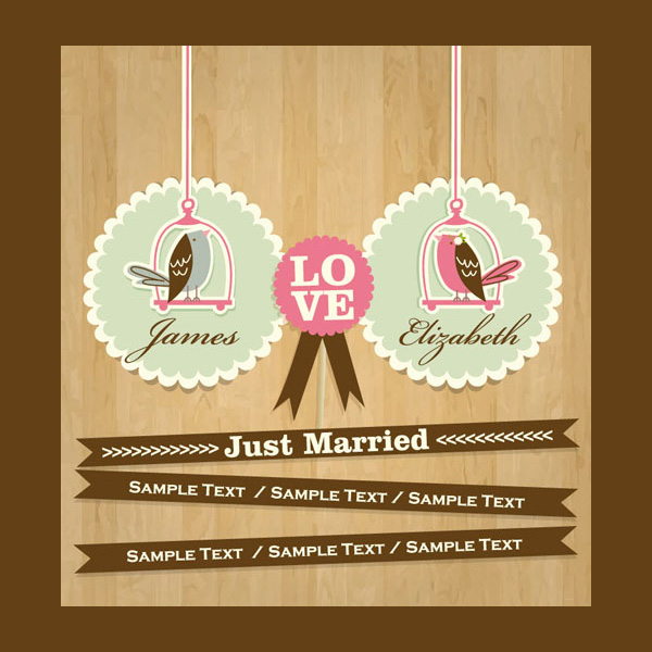 wooden background wedding card wedding vector template ribbon banners love birds just married free download free