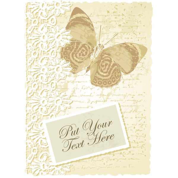 vintage victorian vector script romantic lace label free download free card butterfly background