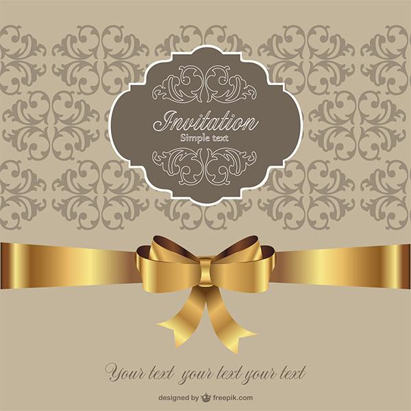 Golden ribbon vintage invitation background welovesolo vintage vector ribbon golden gold free download free floral card bow background stopboris Images