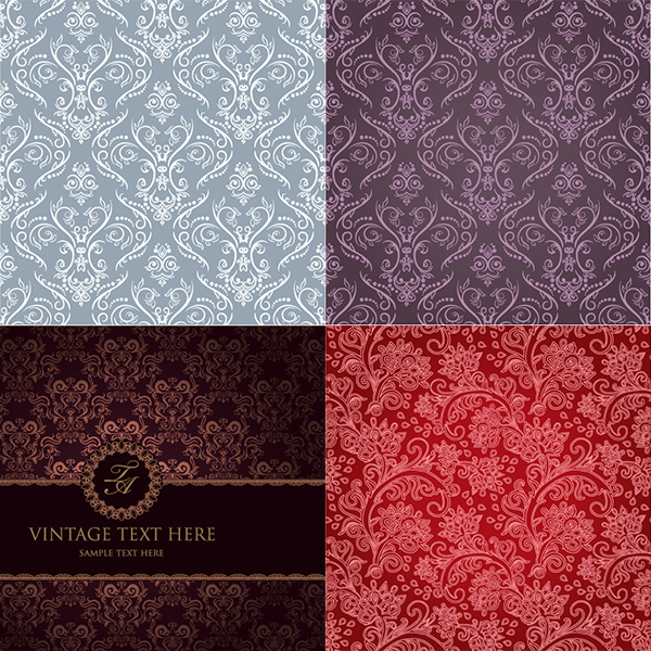 wallpaper vintage vector set pattern free download free floral background