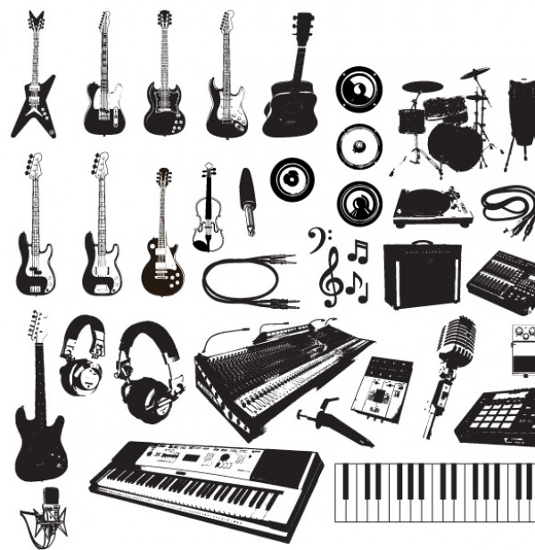 Treble T symbol Studio string sound Song shape scroll Sax rock retro play piano party Panpipes ornate Orchestra object note musical Music Instruments music Jazz instrument illustrator illustration icons harp guitar free Folk