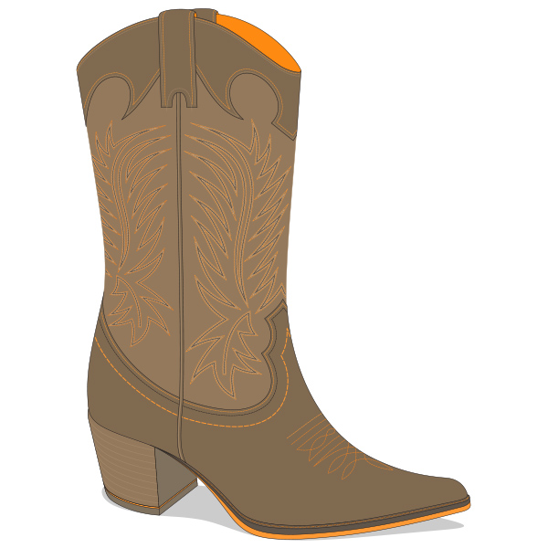 Texas Cowboy Leather Boot Vector - WeLoveSoLo