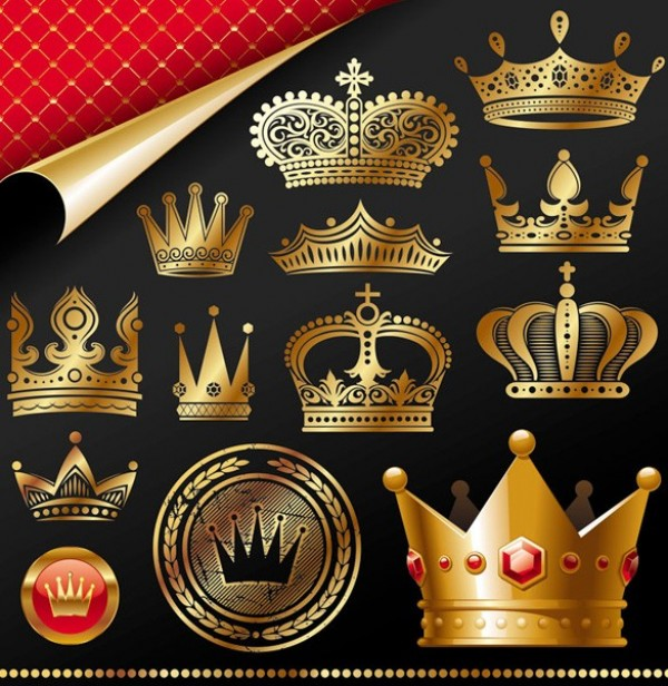 vector unique stylish set royalty royal queen quality pack original nobility modern kingship king illustration high quality heraldry graphic golden free download free emperor download crown creative
