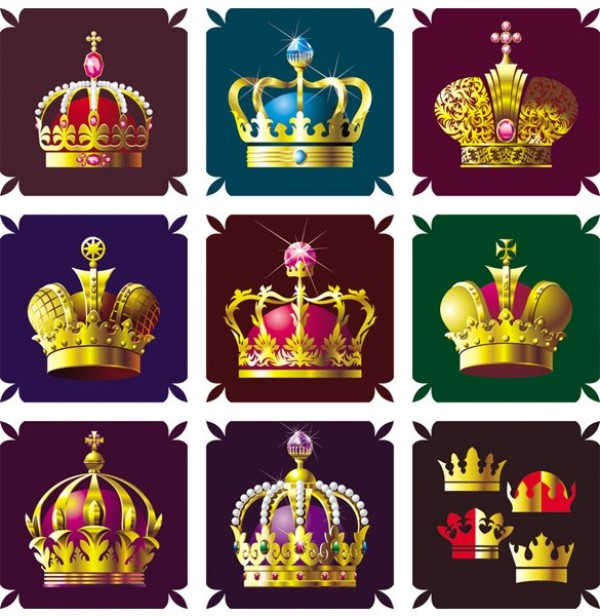 vector unique stylish set royalty royal queen quality pack ornate original modern king jewels illustration high quality heraldry graphic golden gold free download free emperor download crowns creative