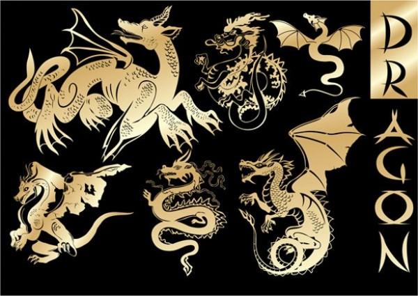 Dragon Heraldry: Golden Heraldry Dragons Vector Graphics