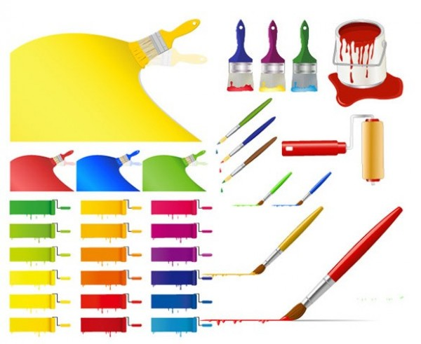 Colorful Paint Brushes And Strokes Vector Set Welovesolo