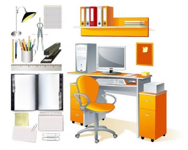 office computer desk stationary vectors welovesolo