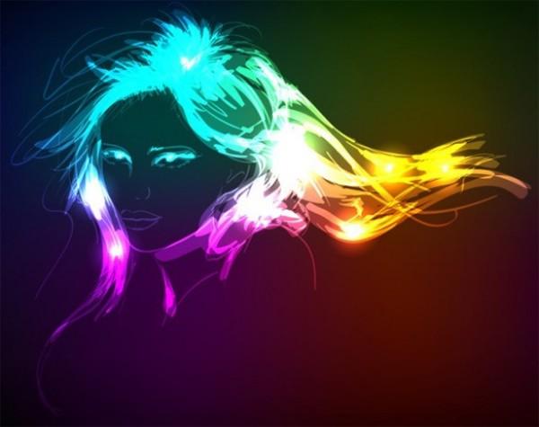 Glowing Neon Lights Vector Girl Graphic