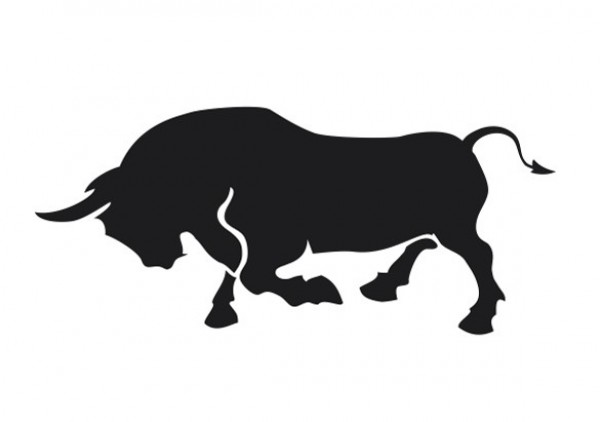 Charging Black Bull Vector Silhouette Welovesolo