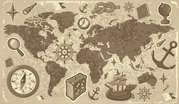 Old world vector map with sea faring elements welovesolo world map web weathered vintage vector unique ui elements travel stylish sailors knot quality original old gumiabroncs Images