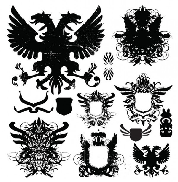 wings winged creature web vintage vector heraldry vector unique ui elements stylish shields set scroll script quality original new medieval interface illustrator high quality hi-res heraldry heraldic HD grungy grunge graphic fresh free download free elements download detailed design creative banner