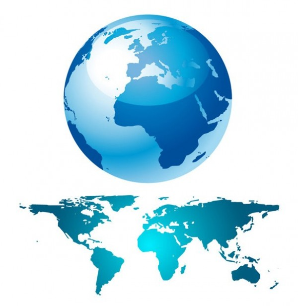 Blue earth globe world map vector set welovesolo world map world web vector unique ui elements stylish quality original new interface illustrator high quality gumiabroncs Choice Image