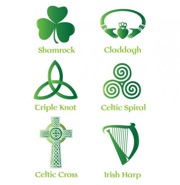 6 Irish Celtic Symbols Vector Set Welovesolo