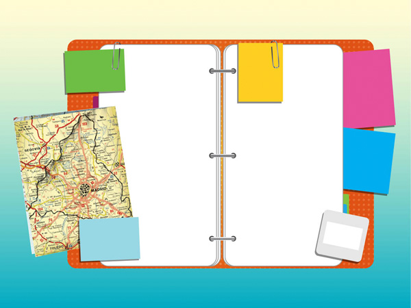 web vector unique ui elements travel stylish sticky notes stickers quality paper clips original open notebook office notebook new map interface illustrator high quality hi-res HD graphic fresh free download free elements download detailed design creative colorful binder AI