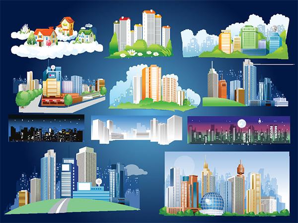 Cartoon City Skyline Night City Skylines Both Night