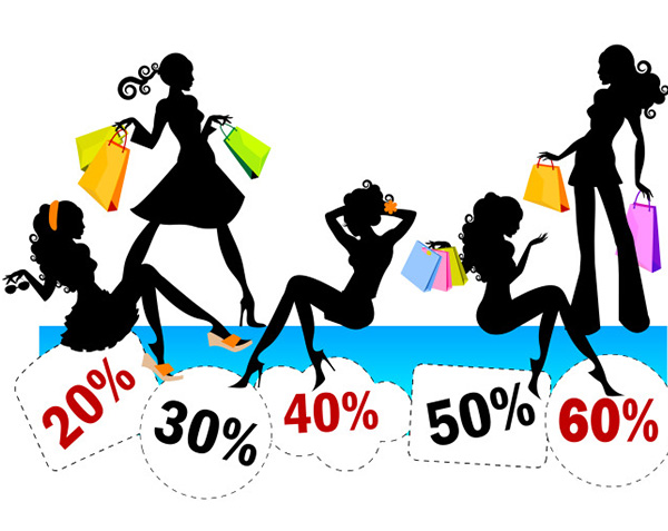 Discount shopping girls silhouette vector welovesolo for Most discounted online shopping