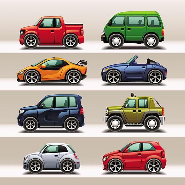 22 Colorful Cartoon Cars Trucks Vectors Set Welovesolo