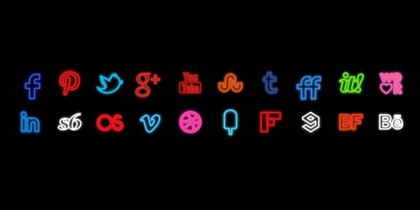 social icons neon icons media icons