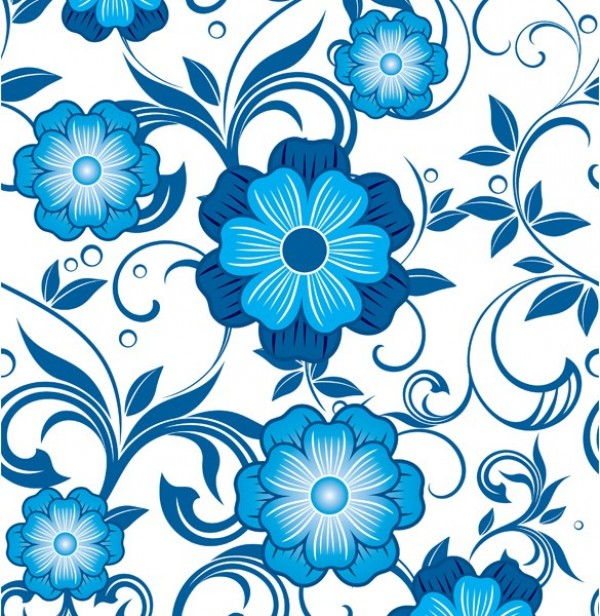 Bold Blue Floral Seamless Vector Pattern