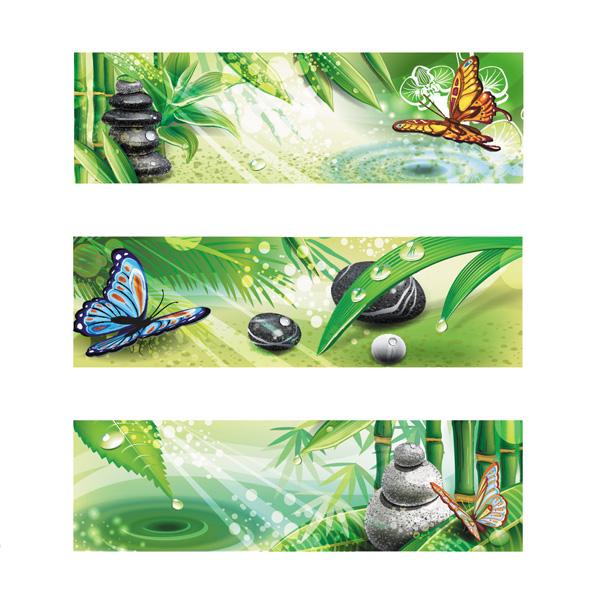 3 Zen Bamboo Garden UI Banners Vector Set WeLoveSoLo