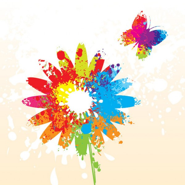 Bright hippie flower vector background welovesolo - Plants with blue flowers a splash of colors in the garden ...