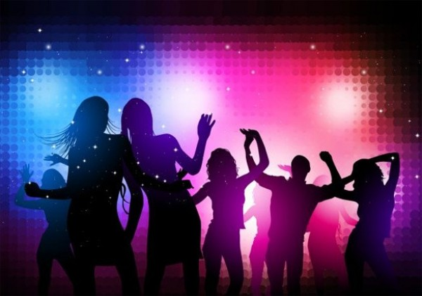 Party Night Dancing Silhouettes Vector Background