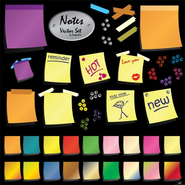 web vector unique ui elements ui taped stylish sticky notes set quality original notes new modern interface hi-res HD fresh free download free EPS elements download detailed design creative colorful clean