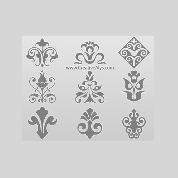 9 Decorative Floral Logo Elements Vector Set Welovesolo