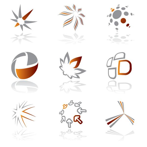 Abstract Modern Logo Of Blue Color: 9 Modern Shapes Logo Designs Set