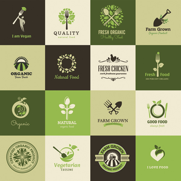 All natural green logos set u2013 organic, natural, vegan food logos ...
